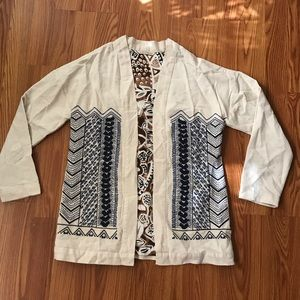 Soft Surroundings XS embroidered blazer jacket